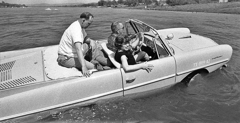 Lyndon Johnson in Amphicar (1965)